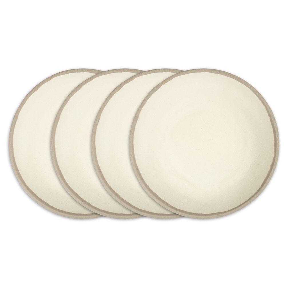 Potter 4-Piece 10 in. Stone Gray Melamine Bamboo Dinner Plate Set