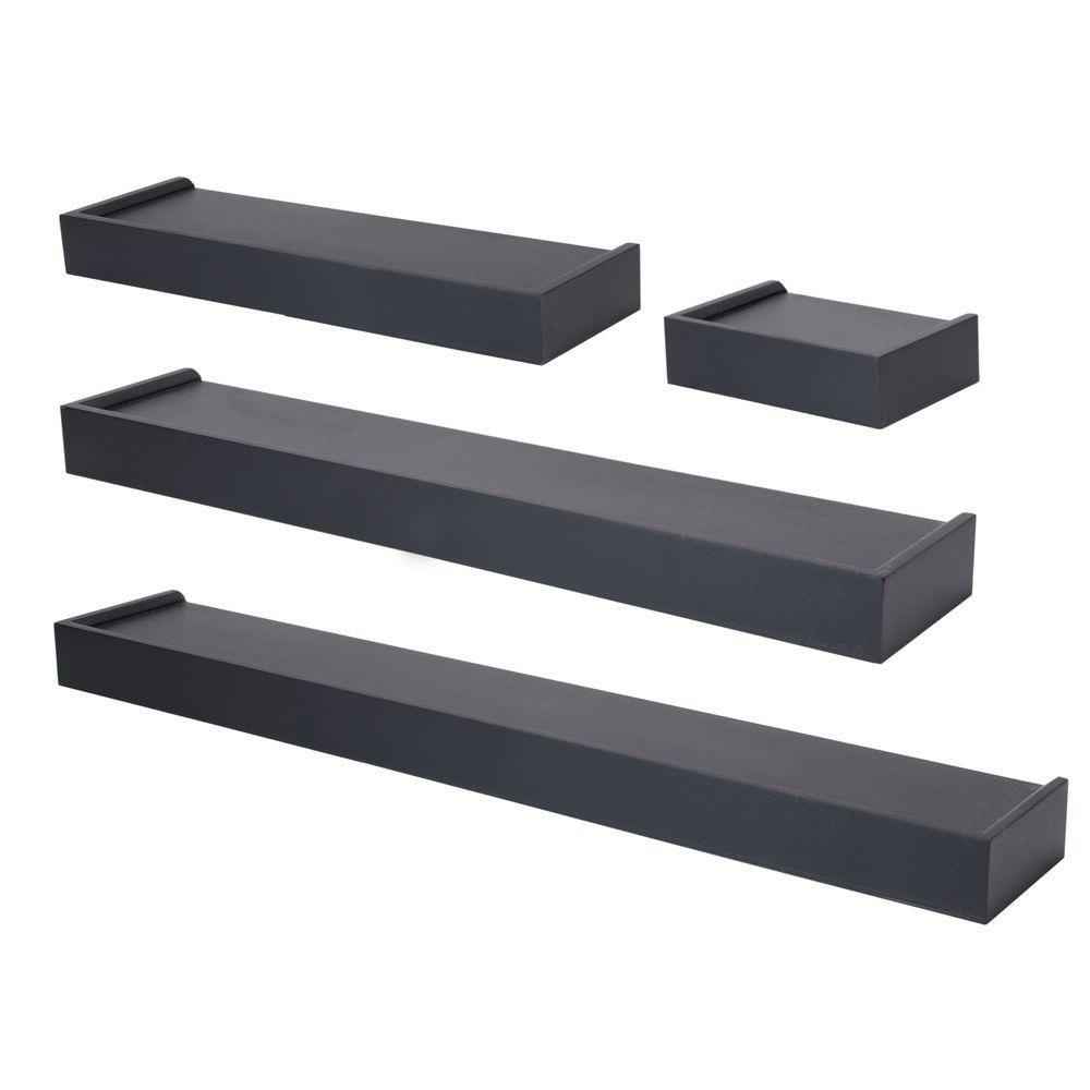 nexxt Vertigo 24 in. L MDF Wall Ledge Set in Black (4-Piece)
