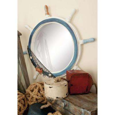 24 in. Ship Wheel Framed Wall Mirror