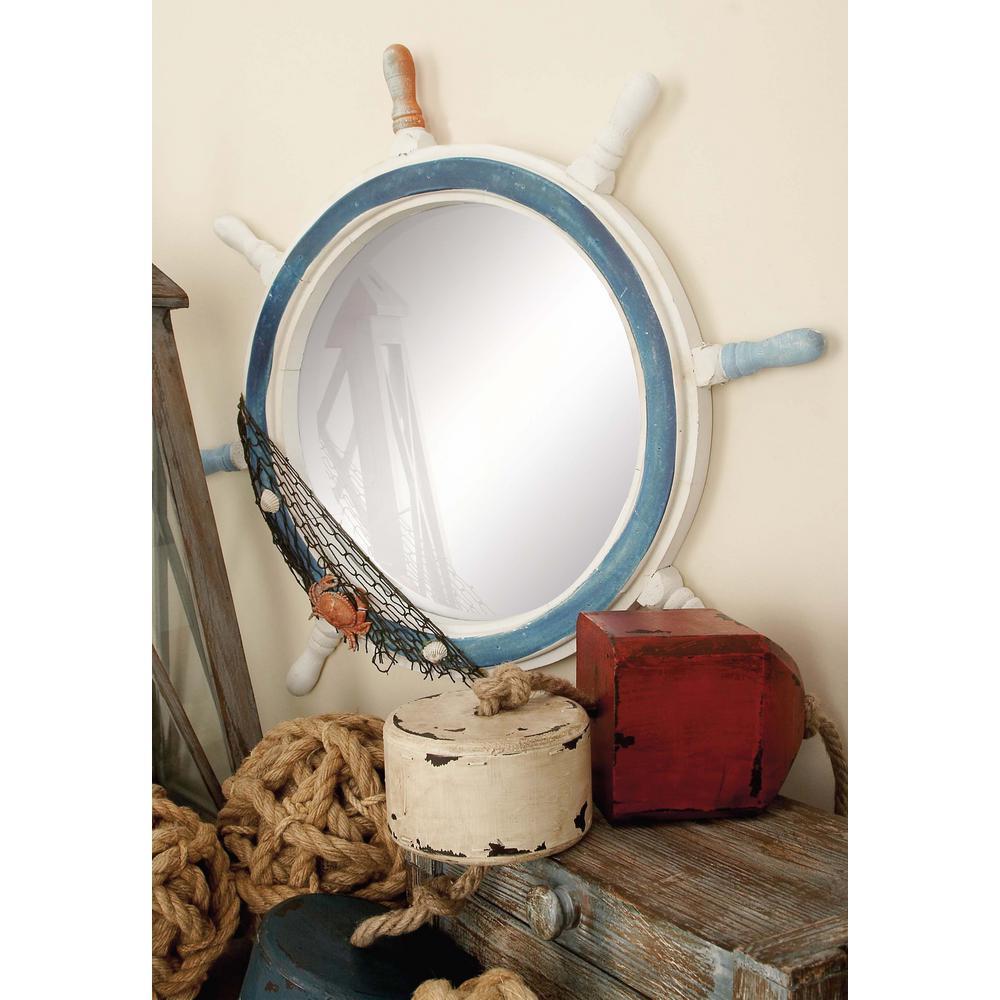 24 in. Ship Wheel Framed Wall Mirror