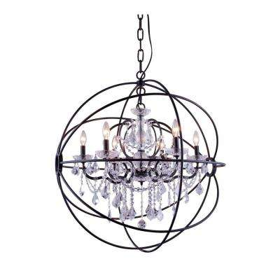 Geneva 6-Light Dark Bronze Chandelier with Clear Crystal