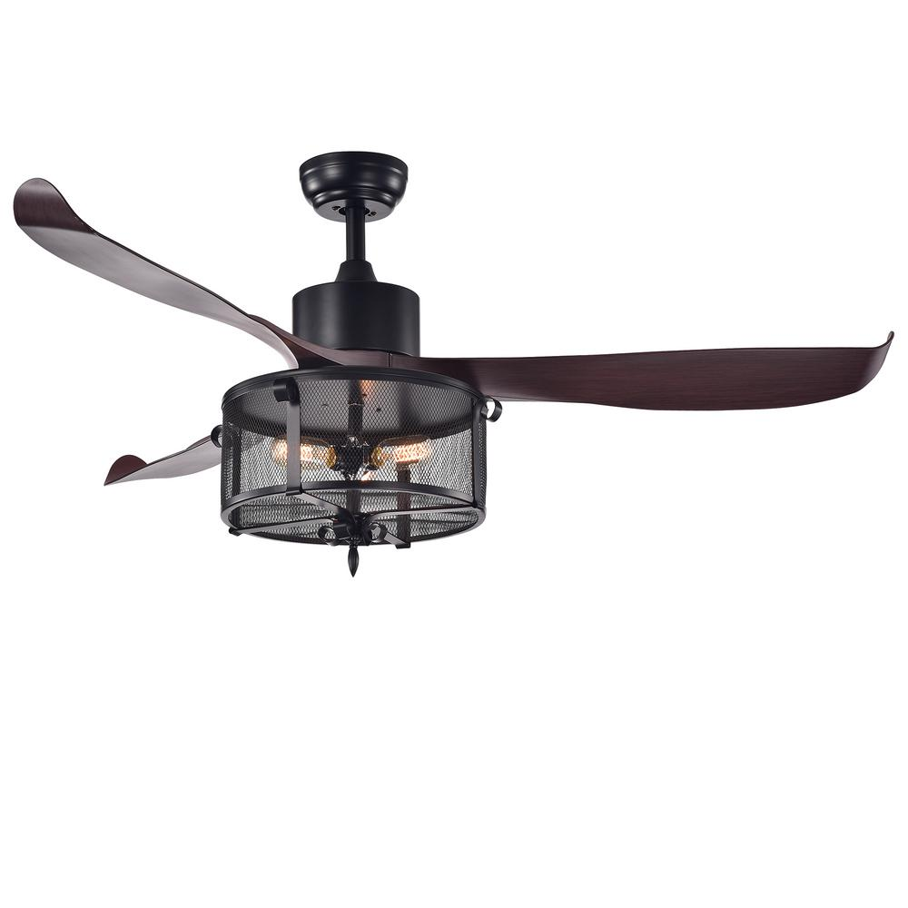 Warehouse of Tiffany Faegan 55 in. Indoor Matte Black Remote Controlled Ceiling Fan with Light Kit