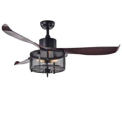Faegan 55 in. Indoor Matte Black Remote Controlled Ceiling Fan with Light Kit