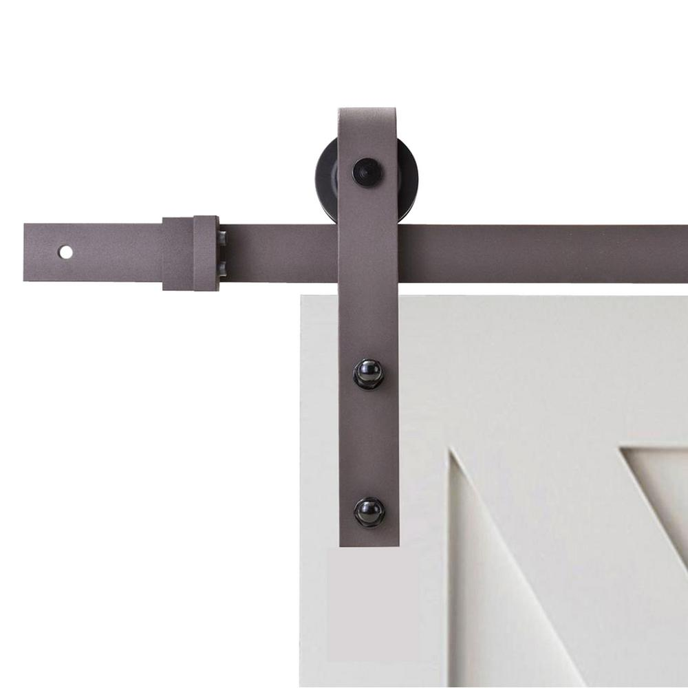 Wall mount sliding door hardware set - Classic Bent Strap Barn Style Sliding Door Track And Hardware Set