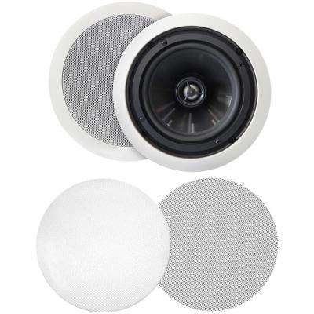 125W 6 5 in  Weather-Resistant In-Ceiling Speakers, Pivoting Tweeters,  Metal and Cloth Grills