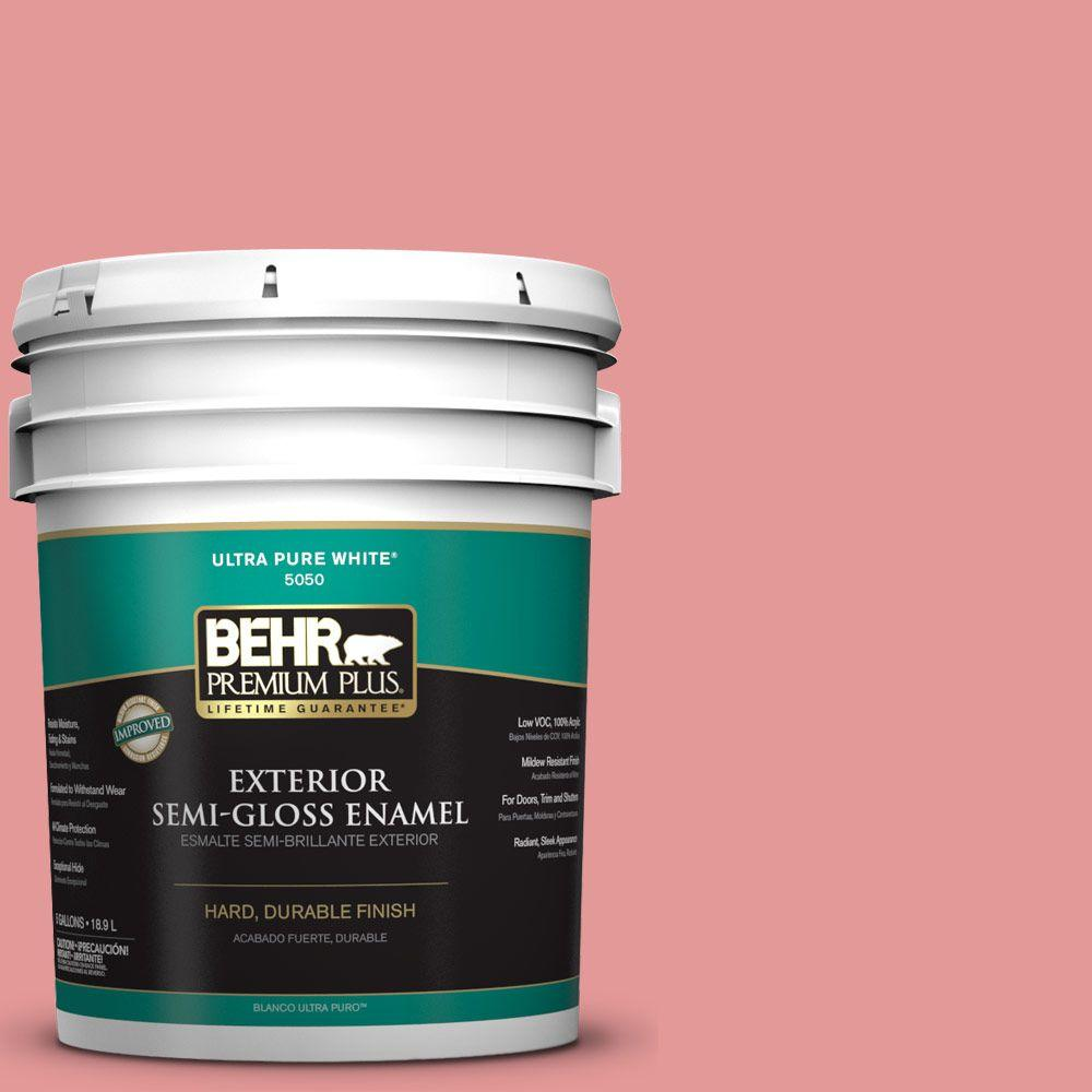 BEHR Premium Plus 5-gal. #M160-4 She Loves Pink Semi-Gloss Enamel Exterior Paint