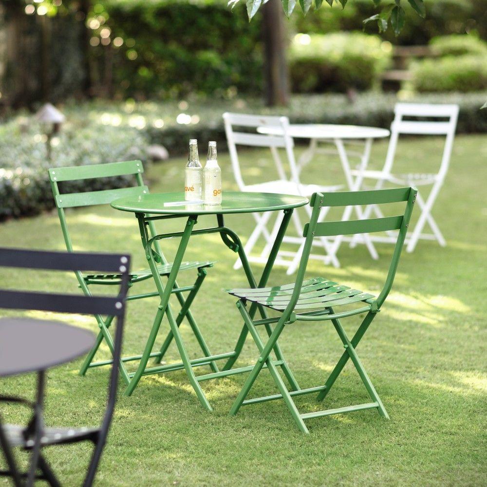 Follie Green 3-Piece Outdoor Patio Bistro Set