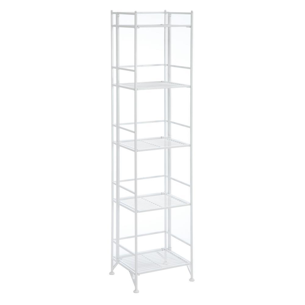 Designs2Go White 5-Tier Folding Metal Shelf