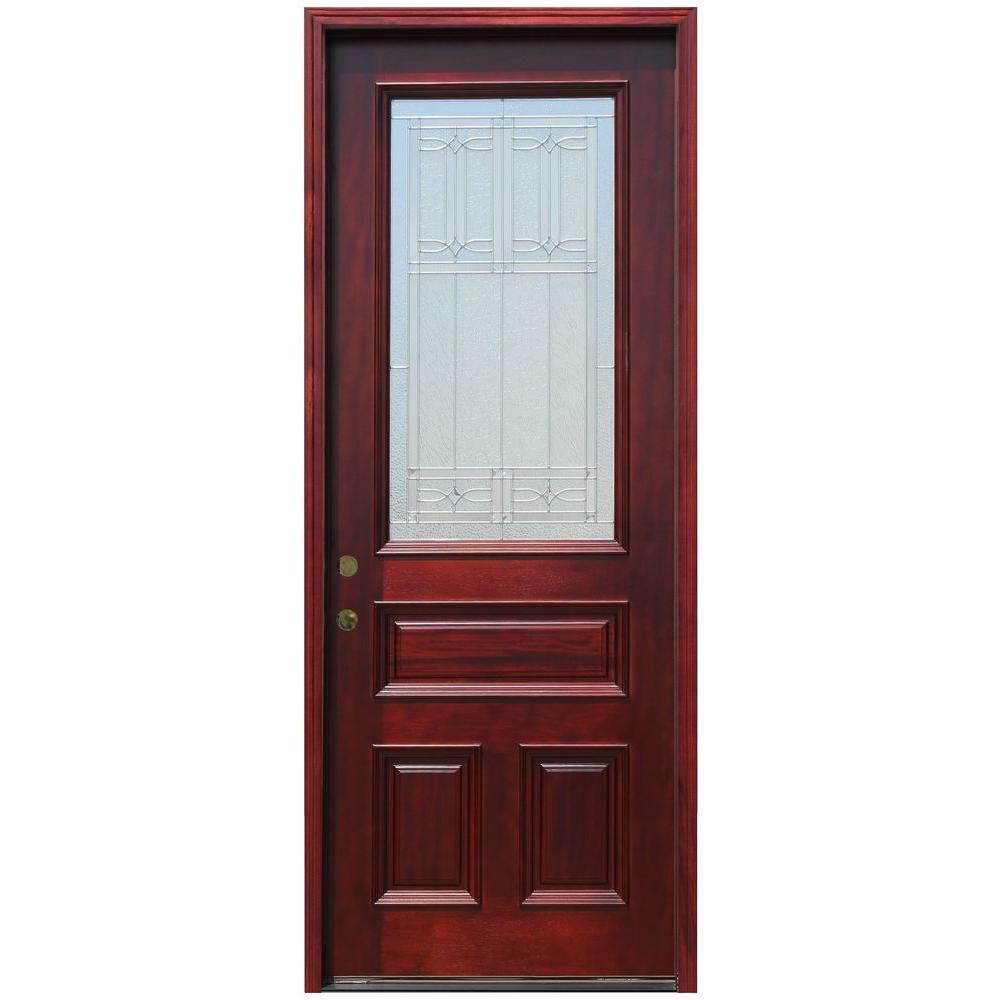 Pacific entries 36 in x 96 in 3 4 lite stained mahogany for 8 foot exterior doors