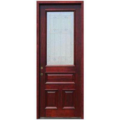 3/4 Lite Stained Mahogany Wood Prehung Front Door with 6 in. Wall Series and 8 ft. Height Series