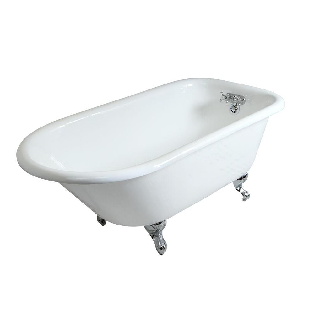 5 ft. Cast Iron Polished Chrome Claw Foot Roll Top Tub
