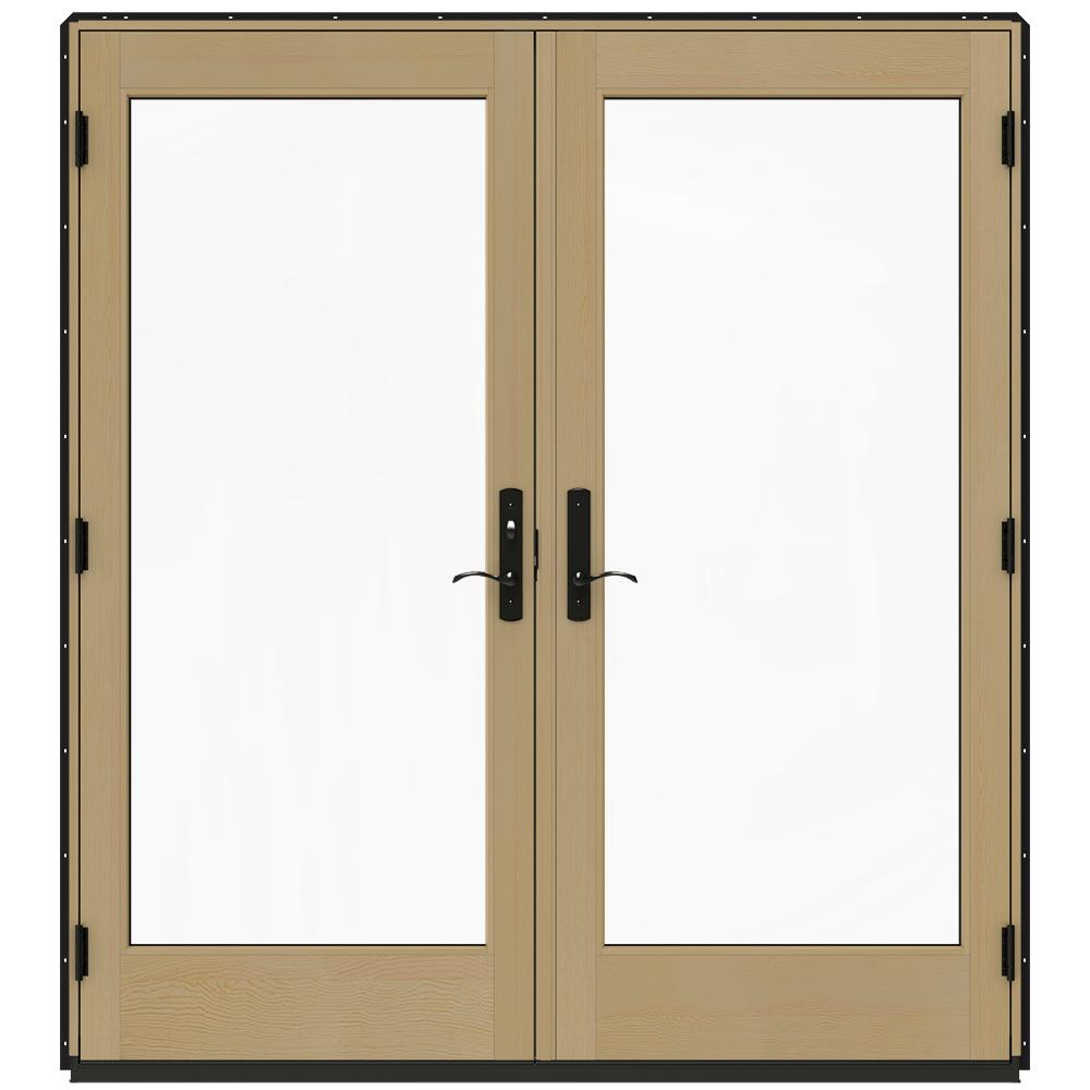 Jeld wen 72 in x 80 in w 4500 black clad wood right hand for Home depot wood french doors
