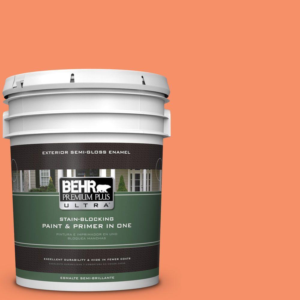 BEHR Premium Plus Ultra 5-gal. #210B-5 Tangerine Dream Semi-Gloss Enamel Exterior Paint