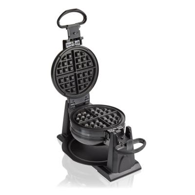 1300 W Double Waffle Black Rotating Belgian Waffle Maker with Removable Plates