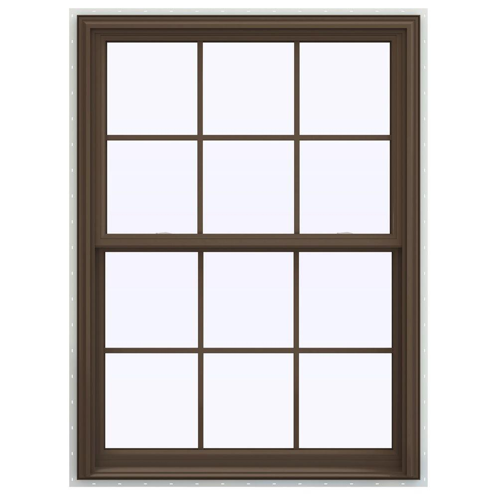 jeld wen 39 5 in x 53 5 in v 2500 series double hung vinyl window with grids brown. Black Bedroom Furniture Sets. Home Design Ideas