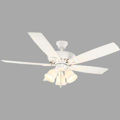 Gazelle 52 in. Indoor/Outdoor Matte White Ceiling Fan with Light Kit and Shatter Resistant Shades