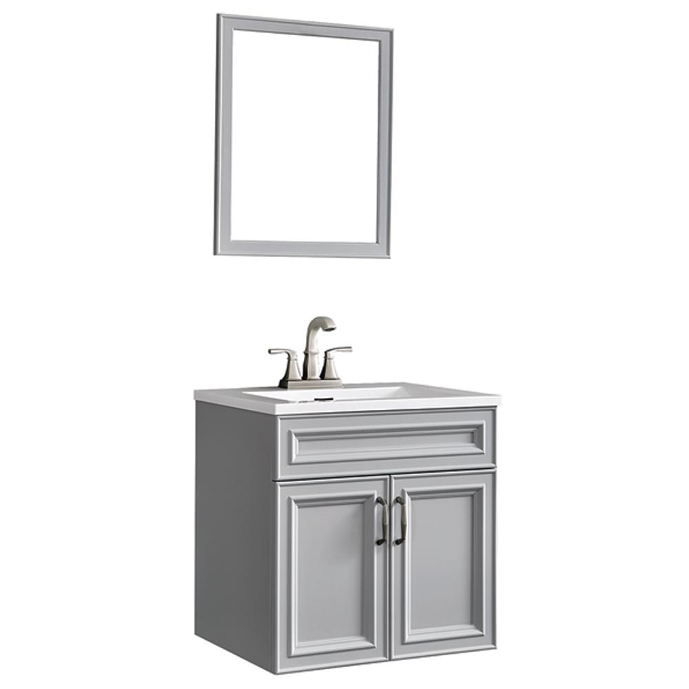 Decor Living Colette 24 in. W x 19 in. D Floating Vanity in Gray with Cultured Marble Vanity Top in White and Mirror