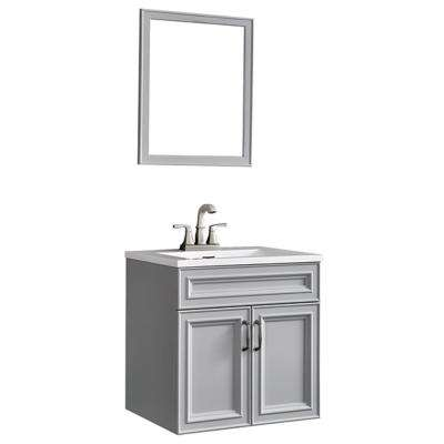 Colette 24 in. W x 19 in. D Floating Vanity in Gray with Cultured Marble Vanity Top in White and Mirror