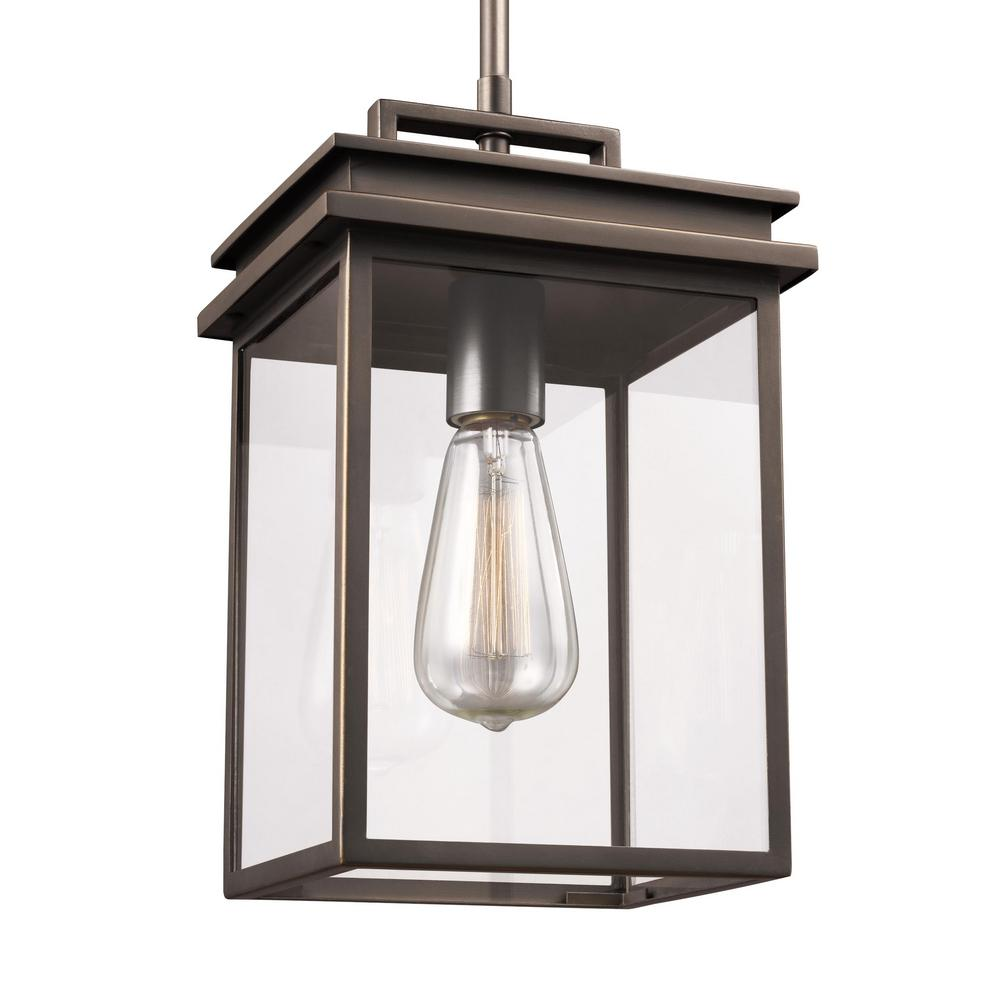 Feiss glenview 1 light antique bronze outdoor hanging for Vintage exterior light fixtures