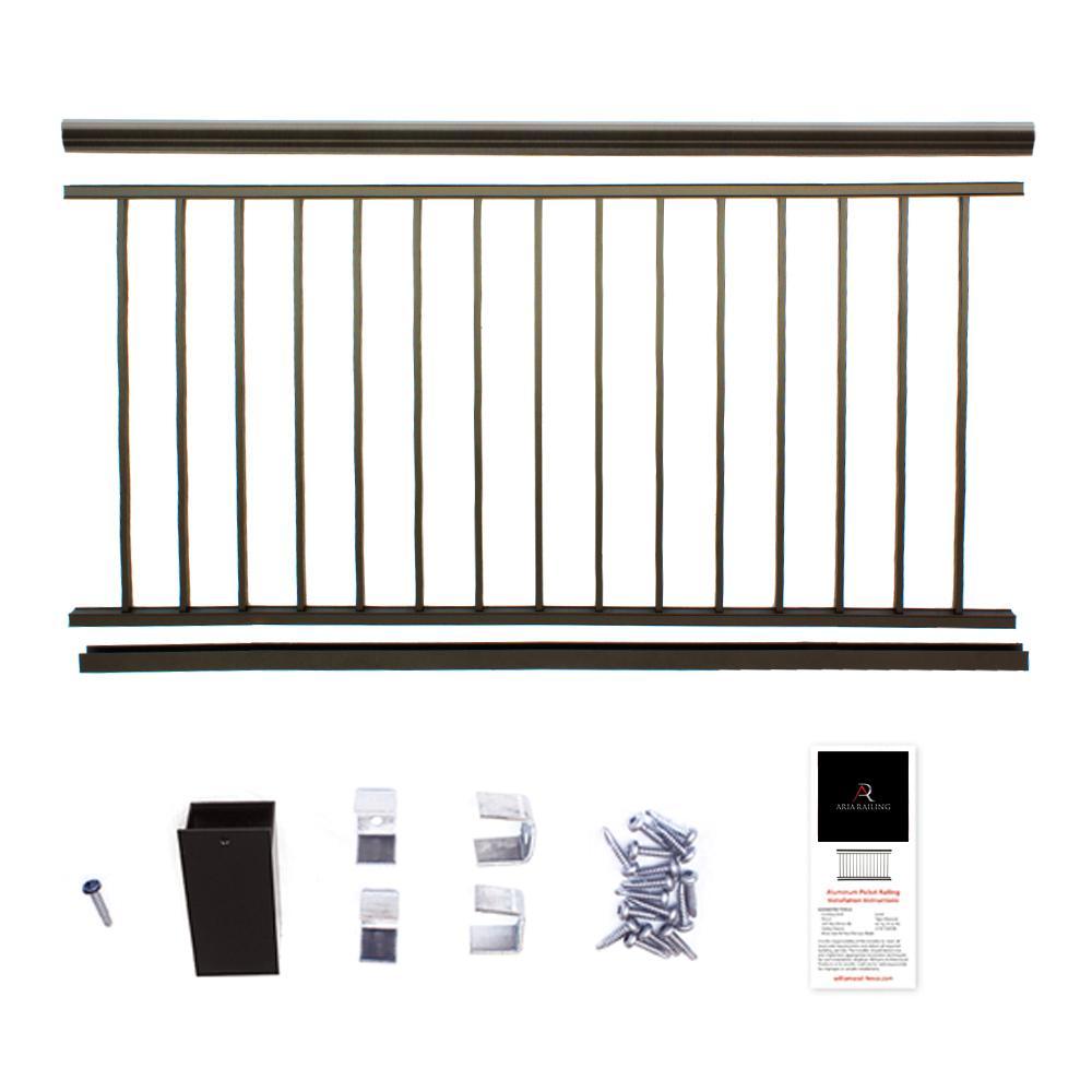 36 in. x 8 ft. Bronze Powder Coated Aluminum Preassembled Deck Railing