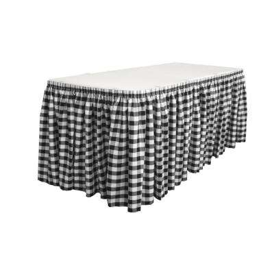 14 ft. x 29 in. Long White and Black Polyester Gingham Checkered Table Skirt with 10 L-Clips