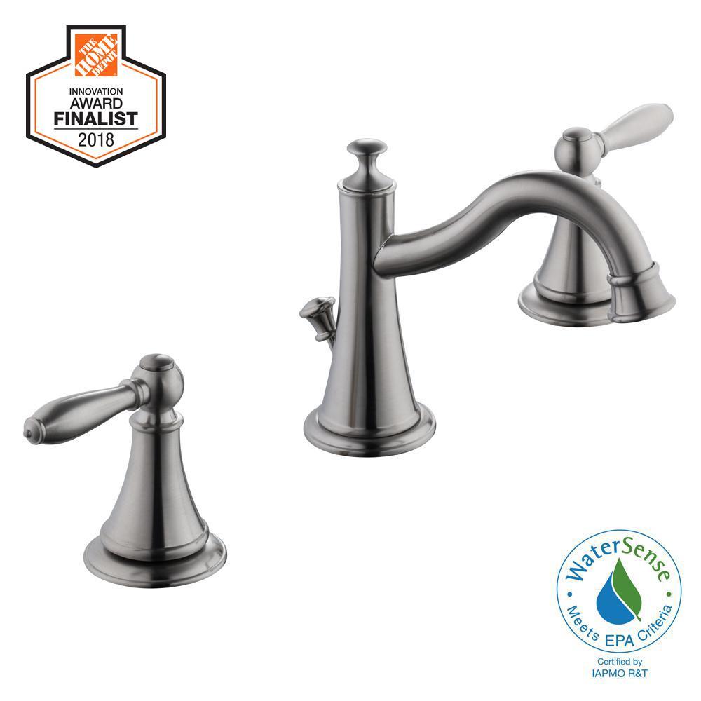 Varina 8 in. Widespread 2-Handle High-Arc Bathroom Faucet in Brushed Nickel