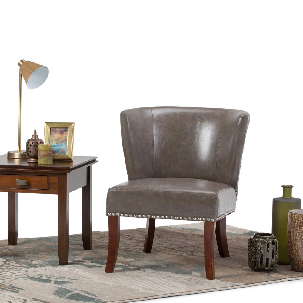 Simply Home Jamestown Elephant Grey Bonded Leather Accent...