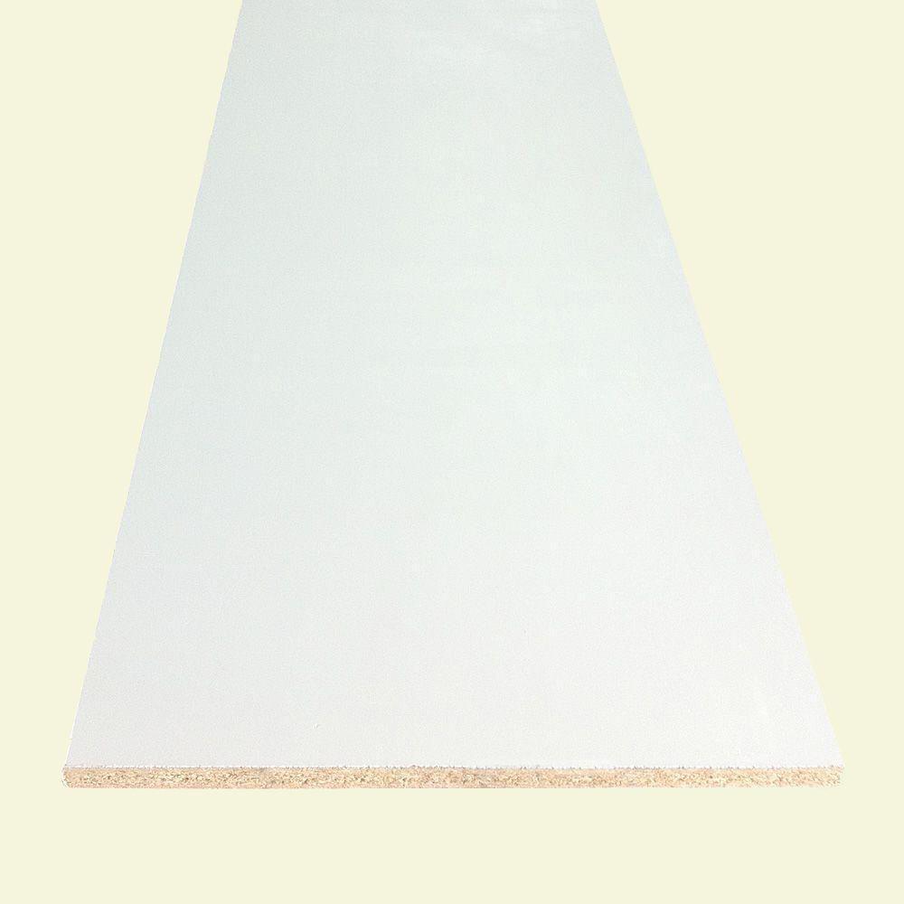 Redi-Shelf 3/4 in. x 15-1/4 in. x 8 ft. White Bullnose Particleboard Shelf (Actual: 0.75 in. x 15.25 in. x 97 in.)