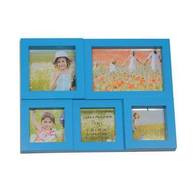 11.5 in. Blue Multi-Sized Puzzled Photo Picture Frame Collage Wall Decoration