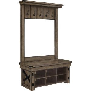 Forest Grove Rustic Gray Wood Veneer Entryway Hall Tree with Storage Bench