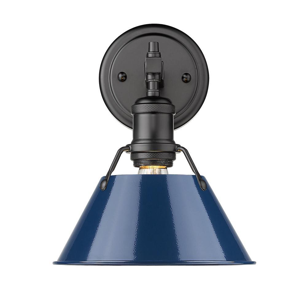 Orwell 4.875 in. 1-Light Black Vanity Light with Matte Navy Shade