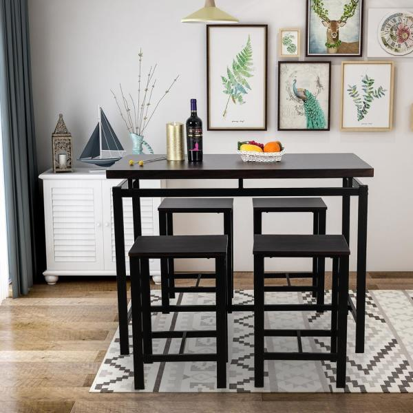 Espresso 5 Piece Dining Set Wood And Metal Pub Table With 4 Bar Stools