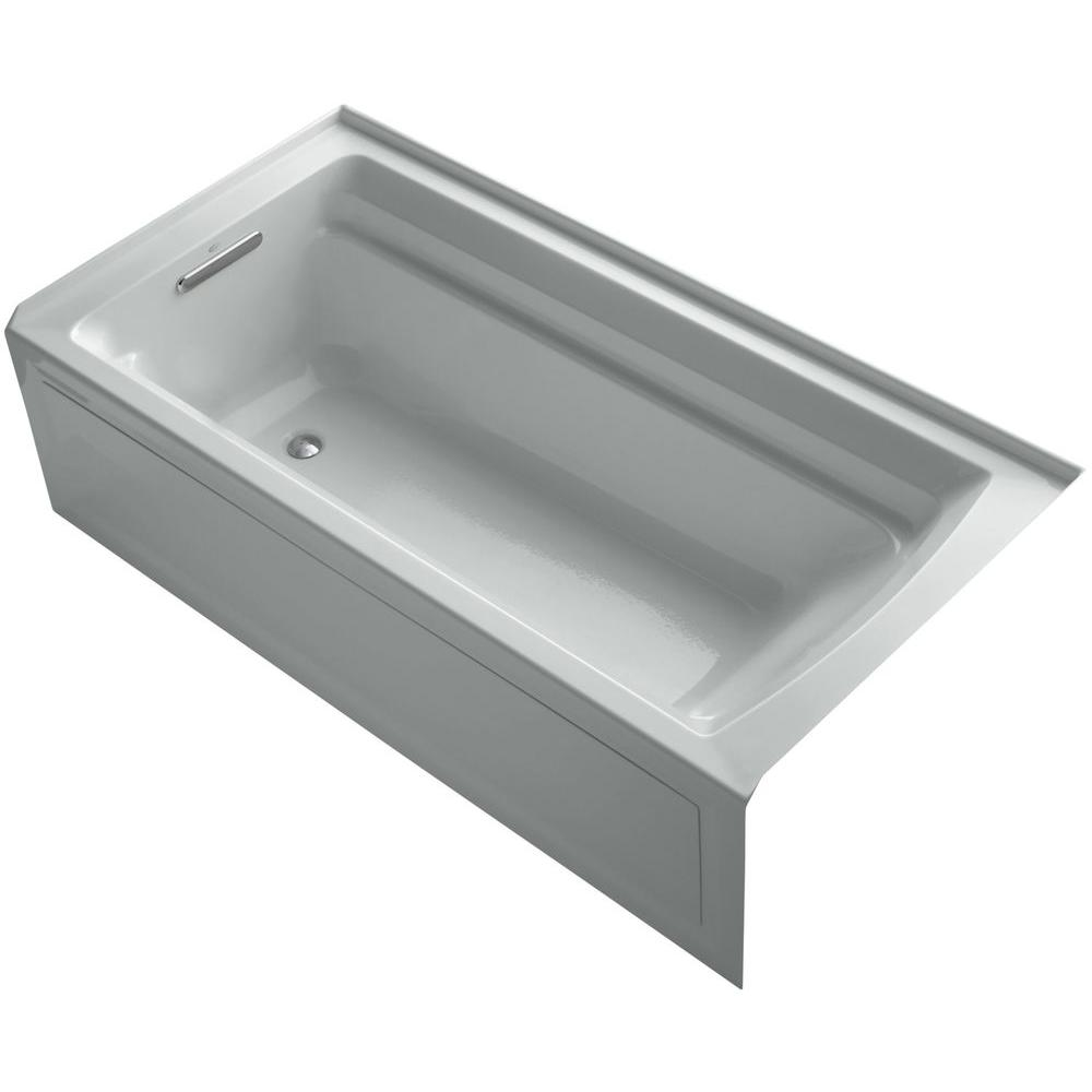 KOHLER Archer VibrAcoustic 6 ft. Rectangle Left Drain Soaking Tub in Ice Grey