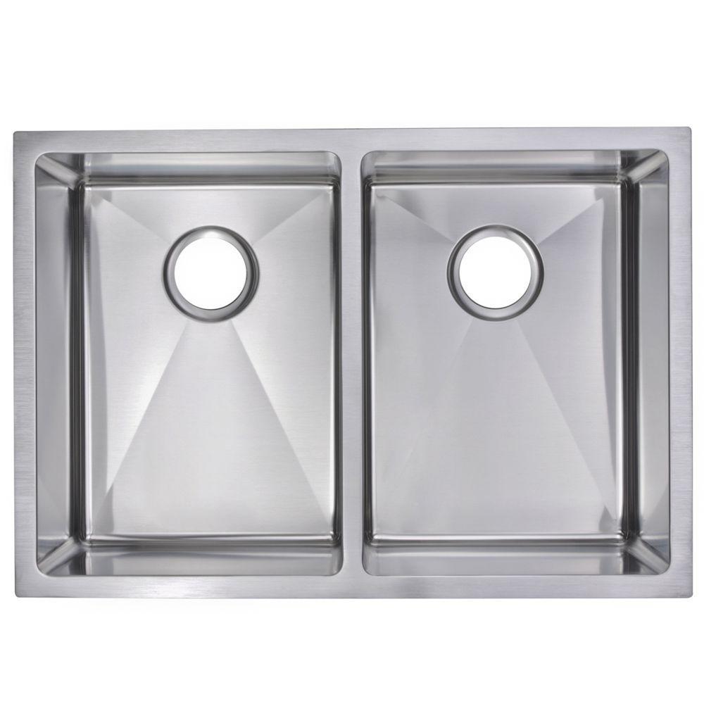 Undermount Small Radius Stainless Steel 29x20x10 0-Hole Double Bowl Kitchen Sink in Satin Finish
