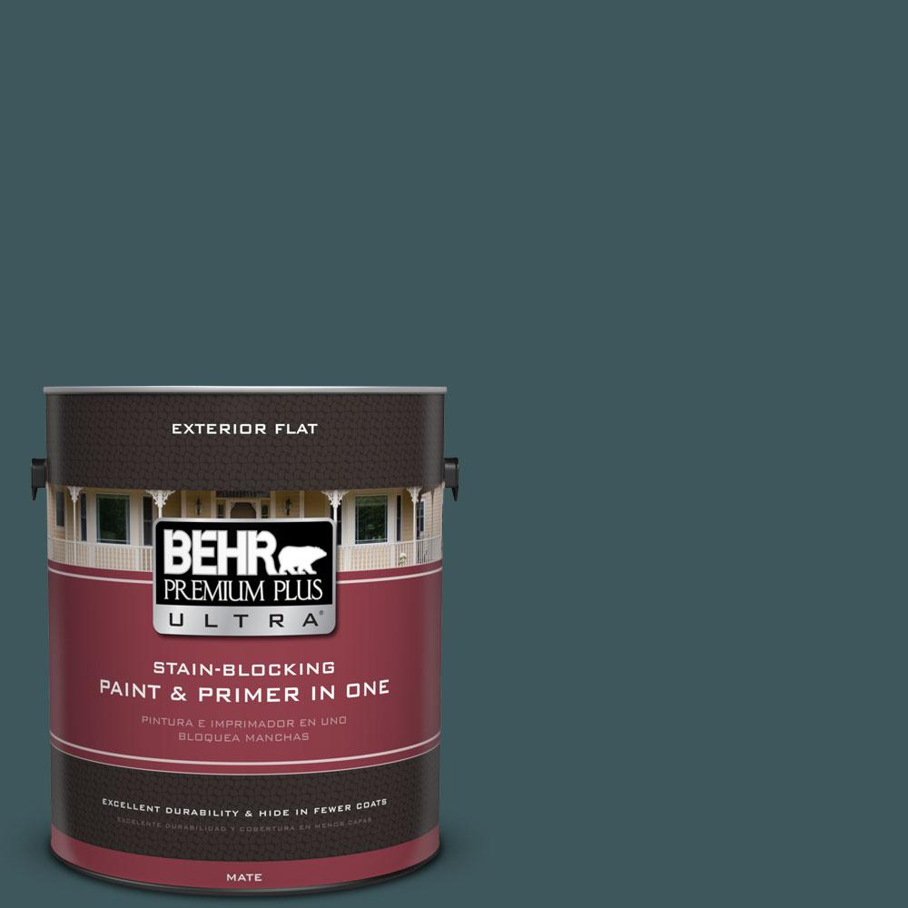 BEHR Premium Plus Ultra 1-gal. #510F-7 Teal Forest Flat Exterior Paint