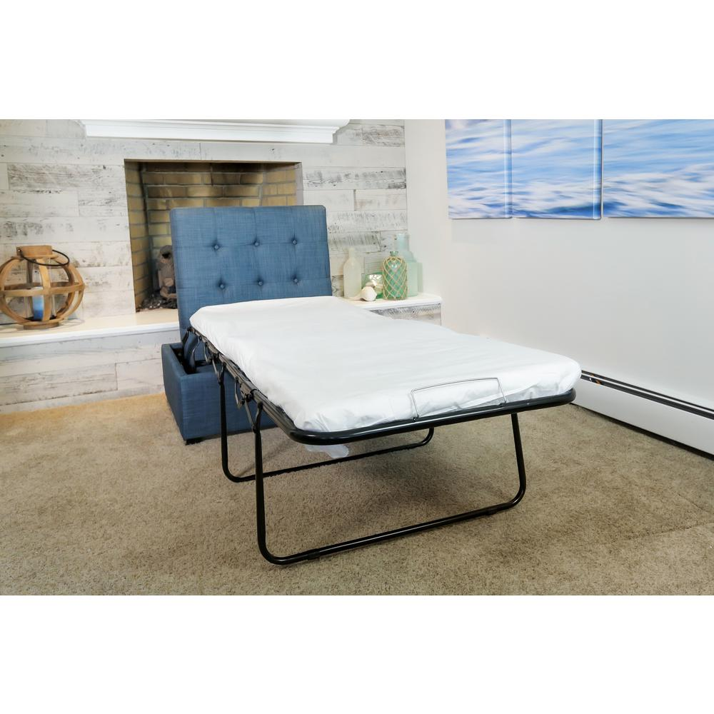iBED Cot Sized Convertible Ottoman Guest Bed in Blue FabricPC333