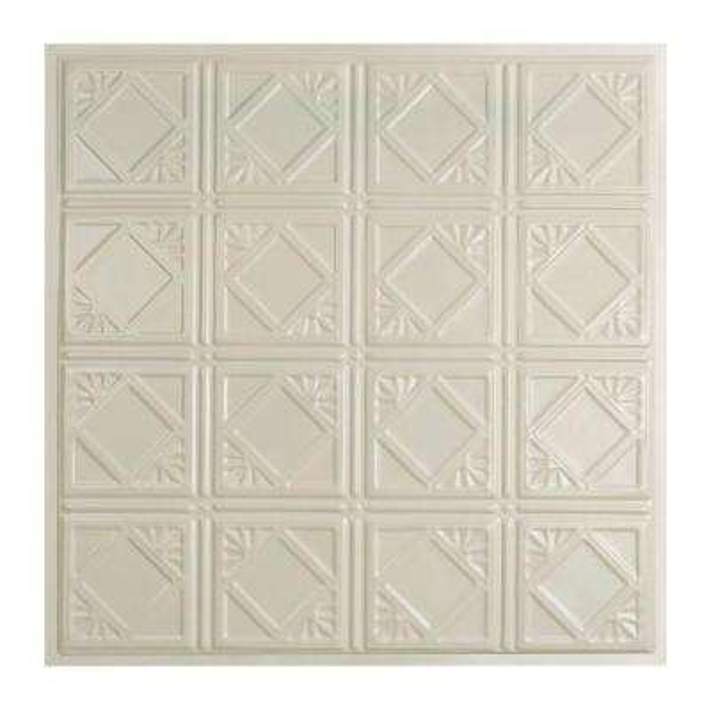 Ludington 2 ft. x 2 ft. Lay-in Tin Ceiling Tile in Antique White