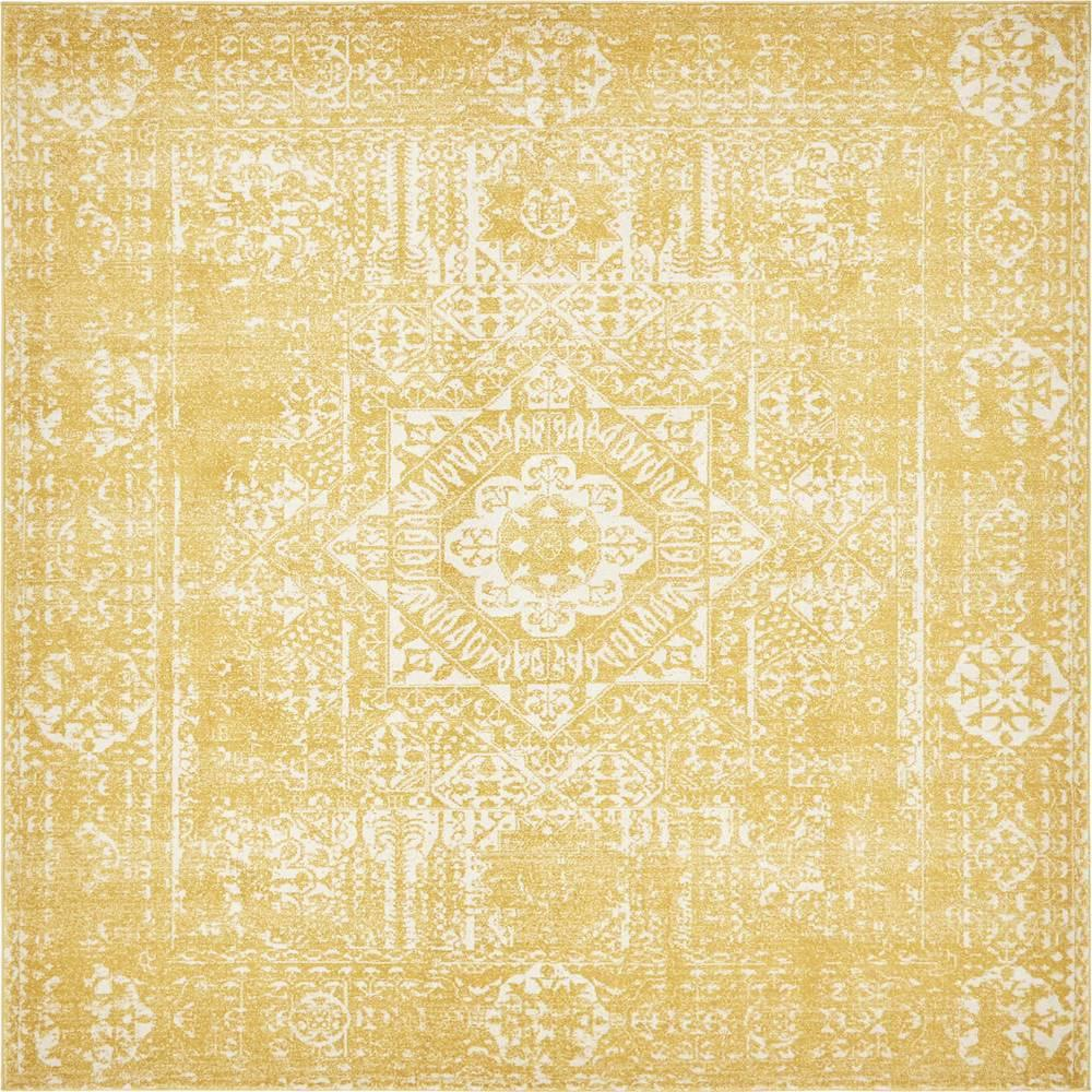 Unique Loom Tradition Yellow 8 ft. x 8 ft. Square Area Rug