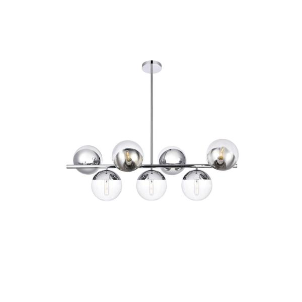 Timeless Home Eden 7-Light Chrome Pendant with 8 in. W x 7.5 in. H Clear Glass Shade