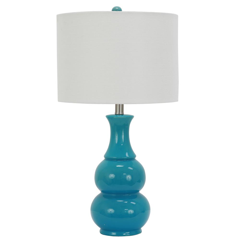 Harper 24 in. Green Table Lamp with Linen Shade