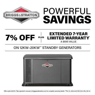 20,000-Watt Automatic Air Cooled Standby Generator with 150 Amp Transfer Switch