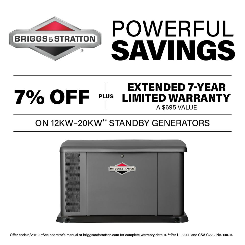 Briggs & Stratton 20,000-Watt Automatic Air Cooled Standby Generator with Aluminum Enclosure and 100 Amp Transfer Switch