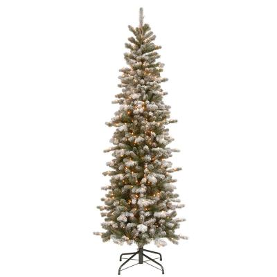 7.5 ft. PowerConnect Snowy Sheffield Spruce Pencil Slim with Clear Lights
