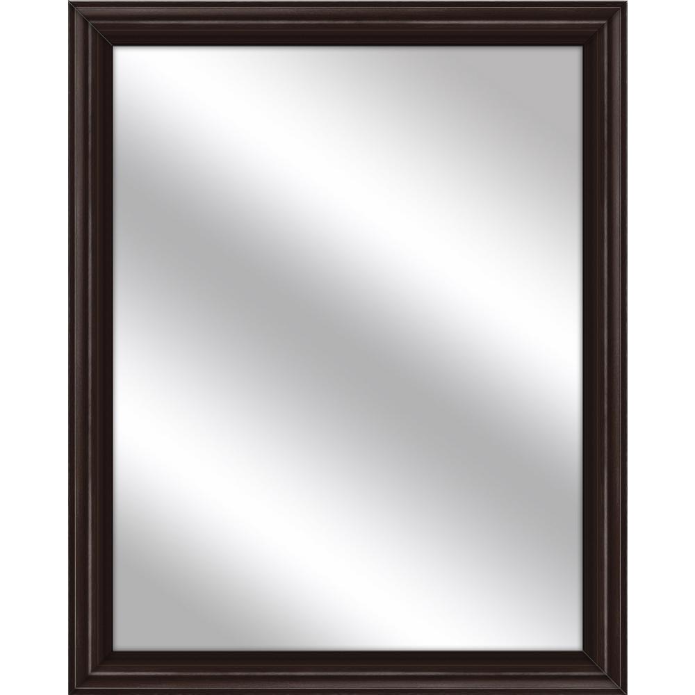 Medium Rectangle Espresso Art Deco Mirror (32.75 in. H x 26.75 in. W)