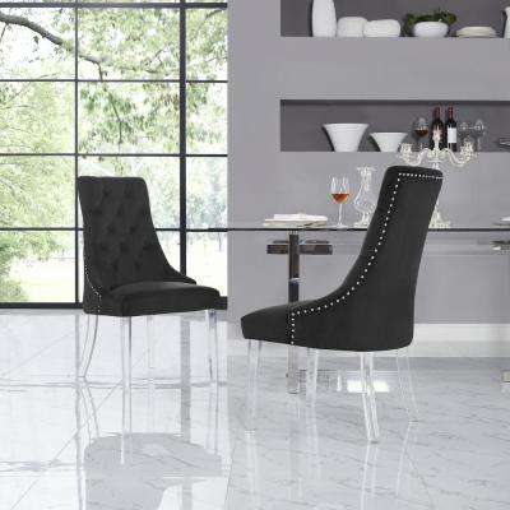 Winona Black Velvet Acrylic Leg Armless Dining Chair (Set of 2)