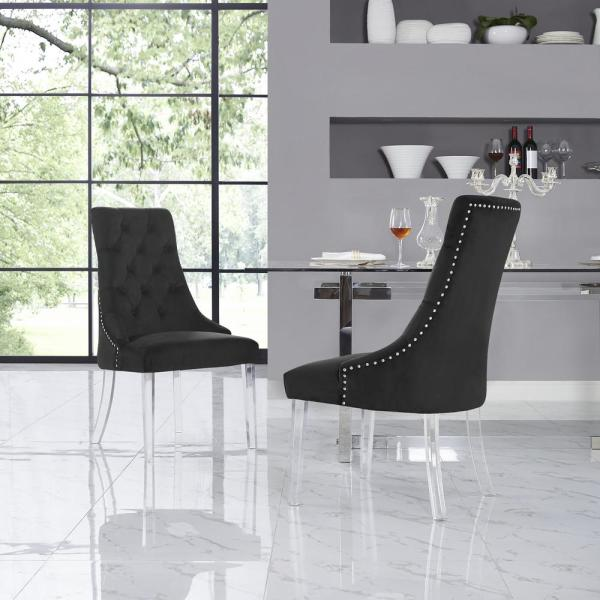 Winona Black Velvet Acrylic Leg Armless Dining Chair (Set of 2)