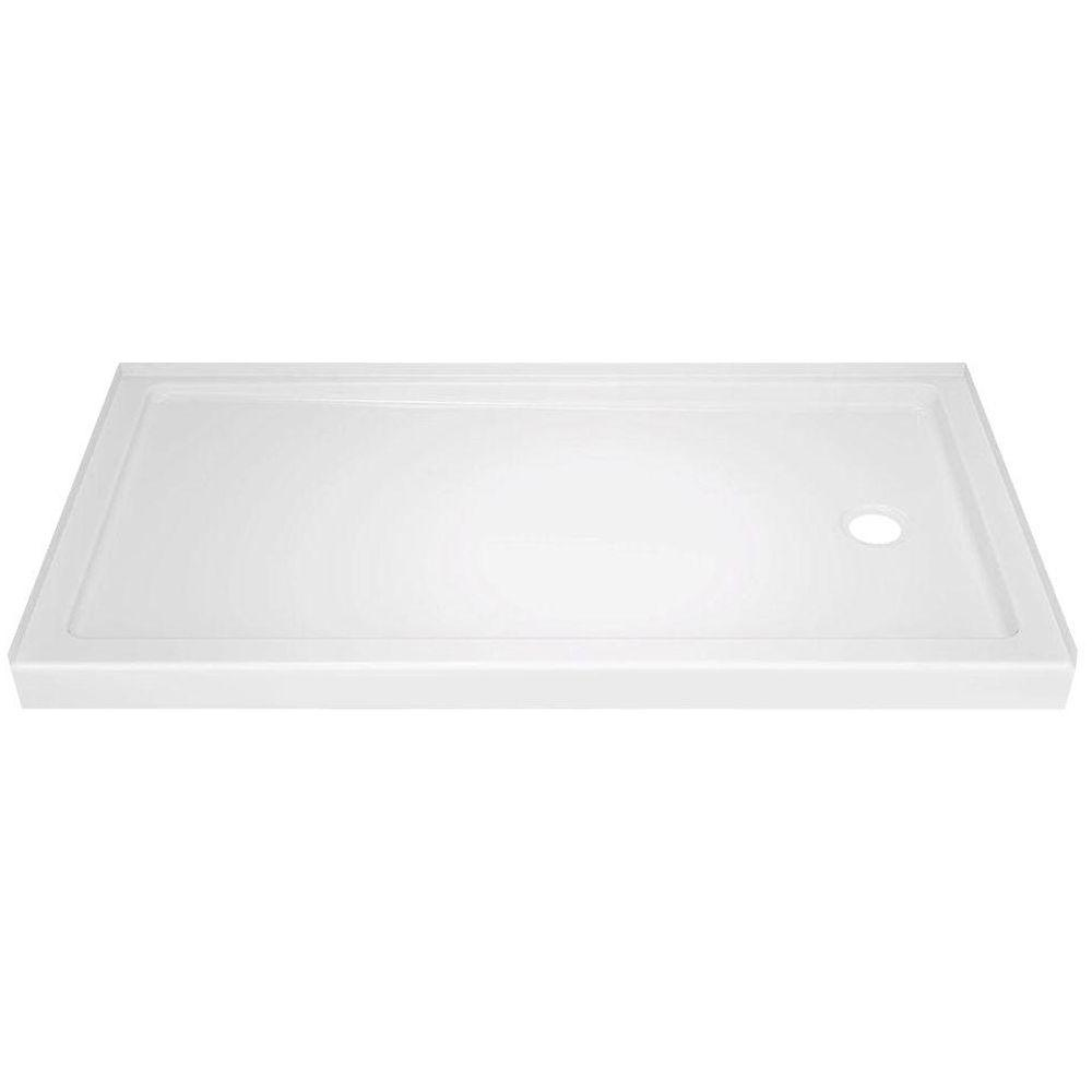 Delta Classic 400 32 in. x 60 in. Single Threshold Right Drain Alcove Shower Base in High Gloss White