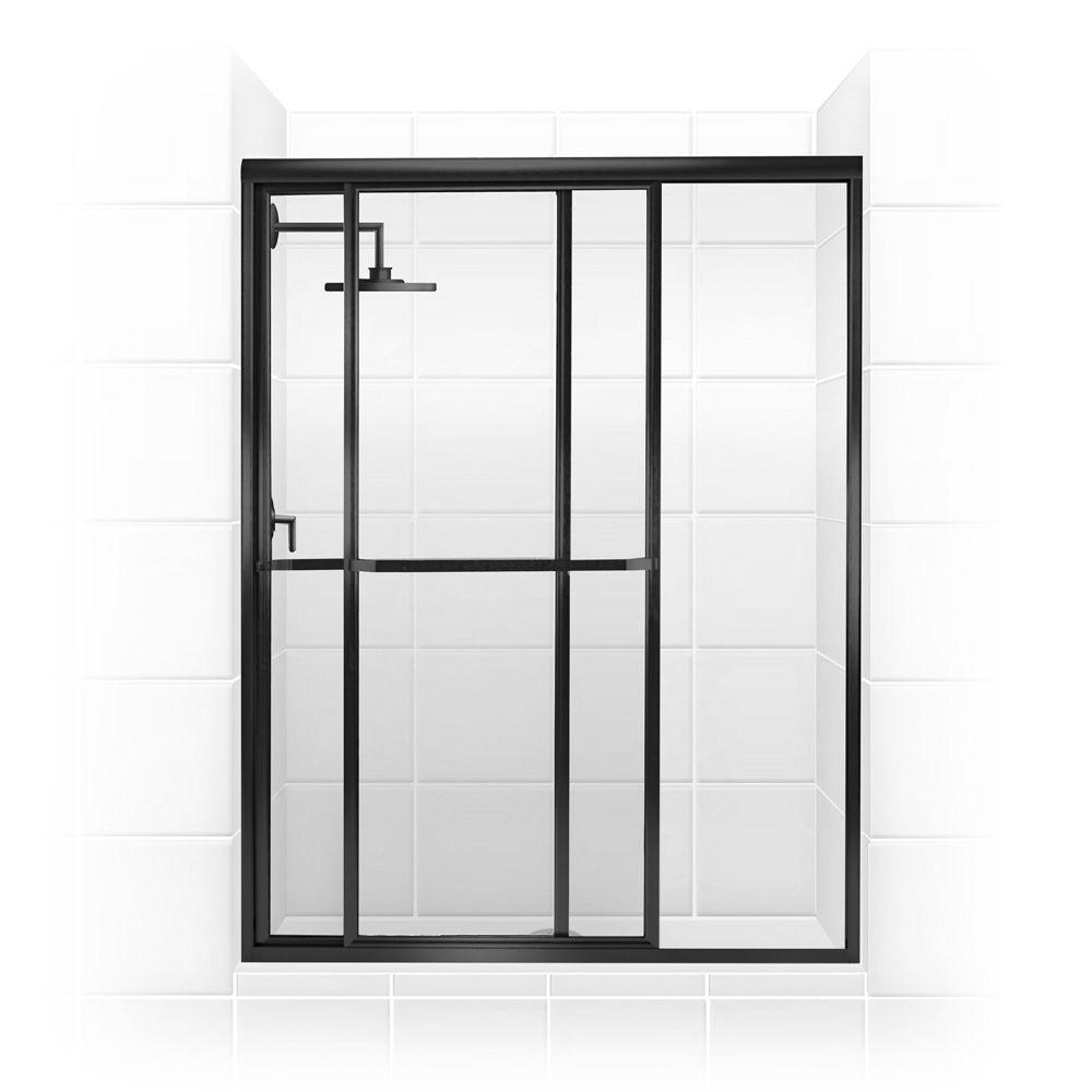 Coastal shower doors paragon series 42 in x 66 in framed for Black sliding glass doors