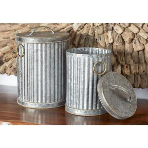Gray Iron Decorative Trash Cans with Gold Accents (Set of 2) by