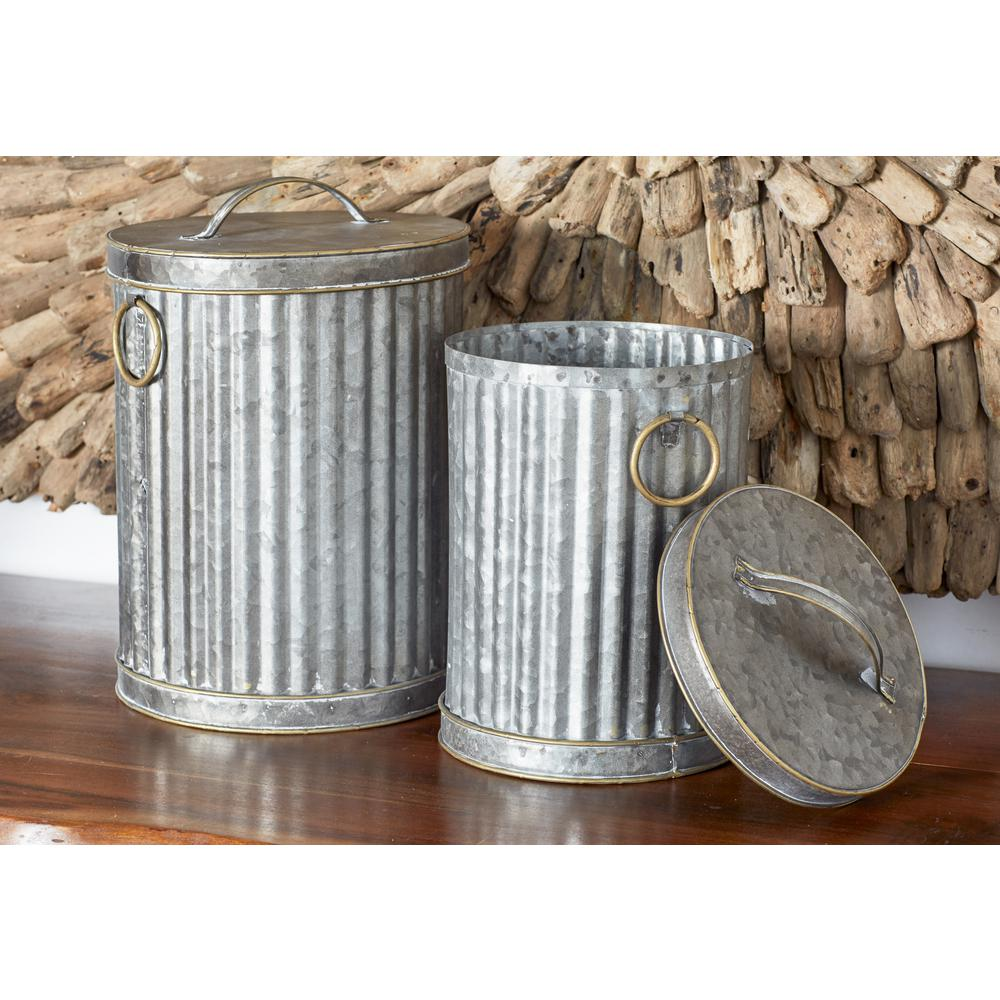 Gray Iron Decorative Trash Cans with Gold Accents (Set of 2)